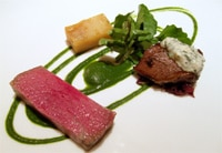 Wagyu strip loin, burgundy braised veal cheek, boulangére potatoes