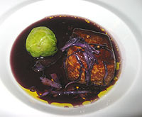"Red cabbage ""nage"" for the foie gras"