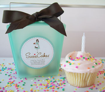 Gift bag and cupcake from SusieCakes bakery