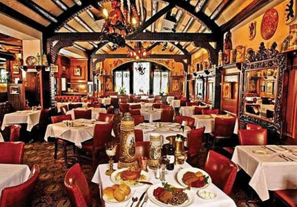 The dining room of Karl Ratzsch's restaurant in Milwaukee, Wisconsin