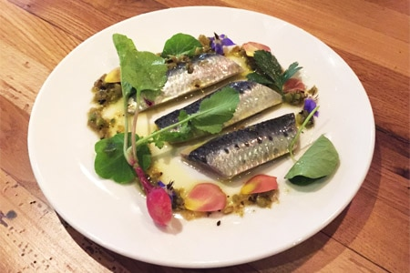 "Marinated sardines are among the delights on the ""ocean-to-table"" menu at Catch & Release in Marina del Rey"