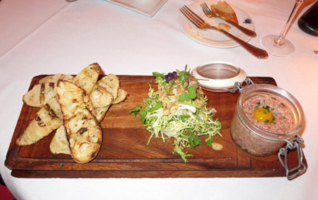 Beef tartare at Bagatelle in West Hollywood