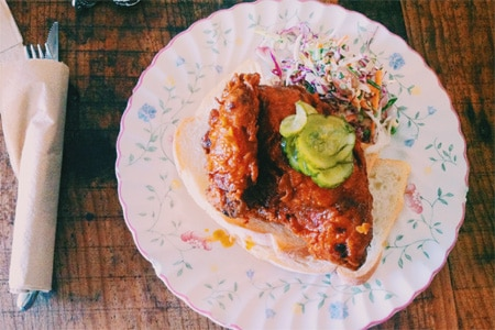Hot Chicken as served at The Hart & the Hunter, one of the Top 10 Fried Chicken Spots in the U.S.