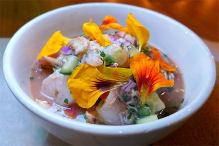 Ceviche is among the creative New American fare served at The Independence, one of GAYOT's Top 10 American Restaurants in Los Angeles, California