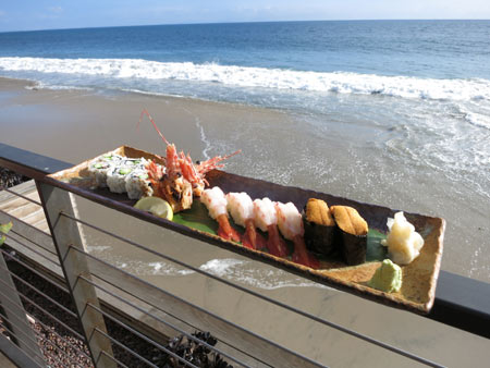 Sample fresh sushi by the ocean at Nobu Malibu, one of GAYOT's Top 10 Sushi Restaurants in Los Angeles