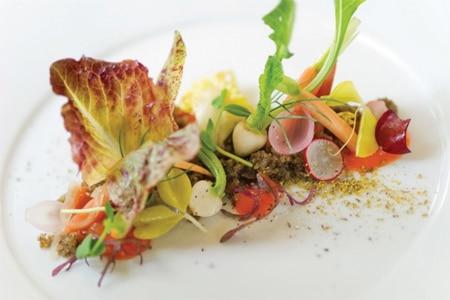 Garden salad at Aubergine, one of the highest rated restaurants in Monterey/Carmel