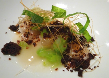 Rock shrimp, miso noodles, chicory, yuzu from wd-50 in New York, one of the Top 10 Molecular Gastronomy Restaurants in the U.S.