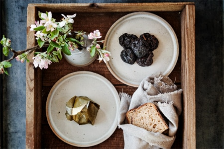 Porridge bread with goat cheese and apples at The Restaurant at Meadowood, one of GAYOT's Top 10 Napa/Sonoma Restaurants with the Best Food