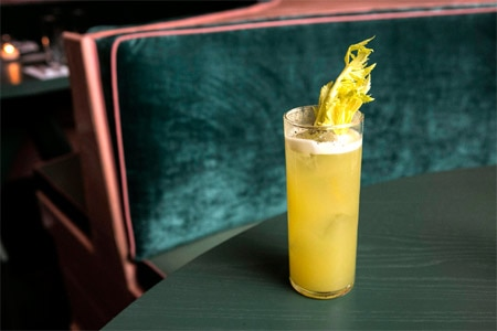 The Happiest Hour's Link Ray boasts celery, Suze, lime, cane, soda and jalapeño tequila