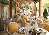 The patio at Auberge du Soleil in Rutherford