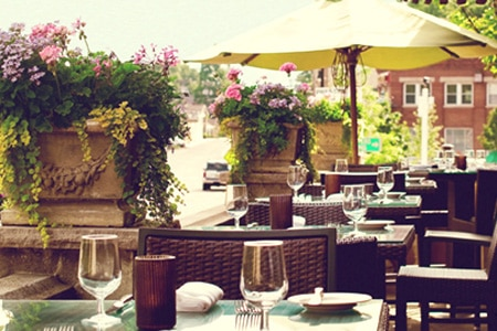 Enjoy a meal on the patio at The Bernards Inn, one of GAYOT's Best Outdoor Dining Restaurants in North Jersey