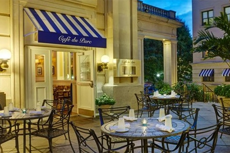 Enjoy a casual lunch on the terrace at Cafe du Parc in Washington DC