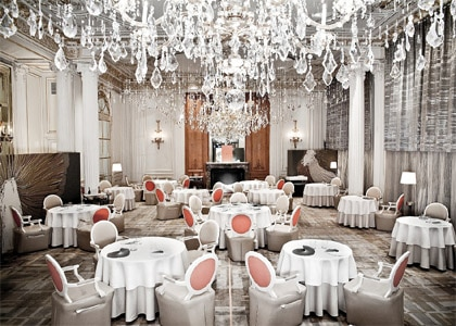 The dining room of Alain Ducasse in Paris