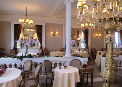 The dining room of Restaurant Lasserre in Paris