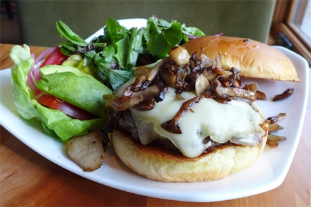 Customizable burgers are featured on the lunch menu at Manzanita, one of the highest rated restaurants in Reno/Tahoe