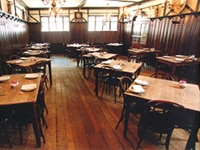 The dining room at Peter Luger in Brooklyn, New York