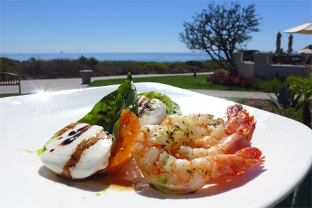 Shrimp caprese at The Bistro at Bacara Resort & Spa