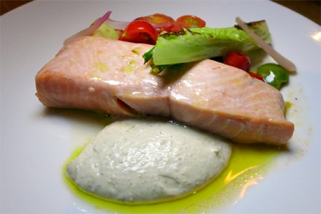 Line-caught salmon poached in olive oil from Catch & Release, one of the Top 10 Seafood Restaurants in Los Angeles