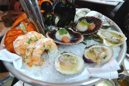 Shellfish platter at Fishing with Dynamite, one of GAYOT's Best Seafood Restaurants in Long Beach & South Bay