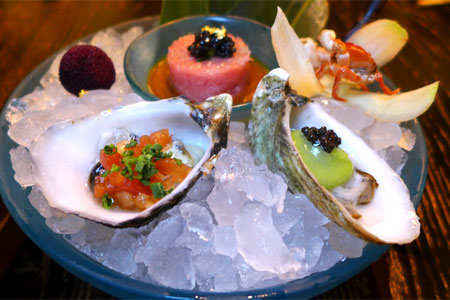 Oysters and bluefin toro tartare at Nobu Restaurant Caesars Palace, one of the Top 10 Seafood Restaurants in Las Vegas