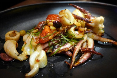 Grilled Spanish octopus with tomato, feta and black olive from Water Grill in Santa Monica, one of the Top 10 Seafood Restaurants in Los Angeles