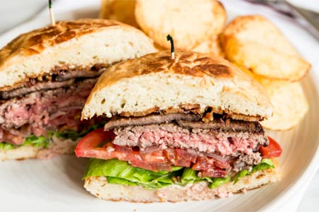 A bestseller at Hopscotch is the juicy chuck-and-tongue First Base Burger