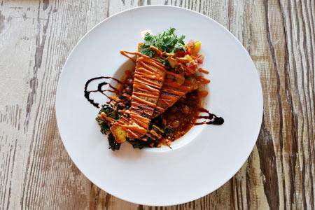 Savory corn cakes at Vegetable, one of GAYOT's Top 10 Vegetarian Restaurants in Los Angeles