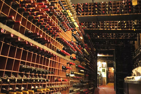 A glimpse at the extensive wine cellar at Bern's Steak House