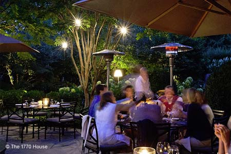 The 1770 House has one of the best restaurant patios in the area of Long Island, New York