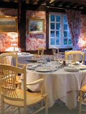 Dining room at La Chaumiere, Vasouy, france