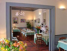 Dining room at Les Remparts, Castillonnès, france