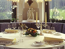 Dining room at Restaurant Schwarzwaldstube, Baiersbronn, germany