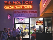 Dining room at Fab Hot Dogs, Tarzana, CA