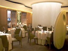Dining room at Alain Ducasse at The Dorchester, London, UK