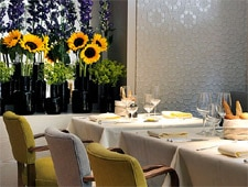 Dining room at Koffmann's, London, UK