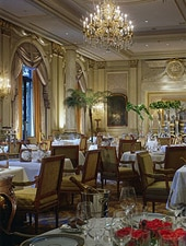 Dining room at Le Cinq, Paris, france