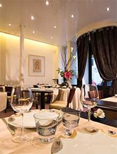 Dining room at Restaurant Dominique Bouchet, Paris, france