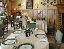 Dining room at Hotellerie du Bas-Breau, Barbizon, france