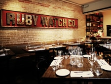 Dining room at Ruby Watchco, Toronto, canada