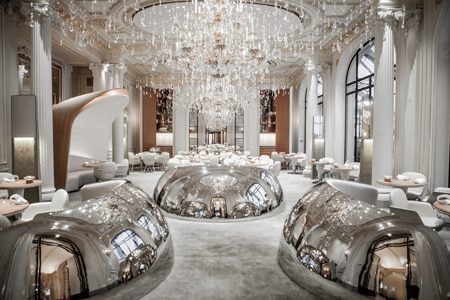 Dining room at Alain Ducasse au Plaza Athénée, Paris, france