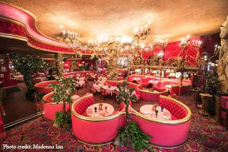 Oak-pit grilled steaks and seafood served in inimitable Madonna Inn style.