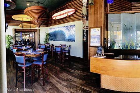 Casual ambience and ocean views are the main draws at this surf-themed steakhouse.