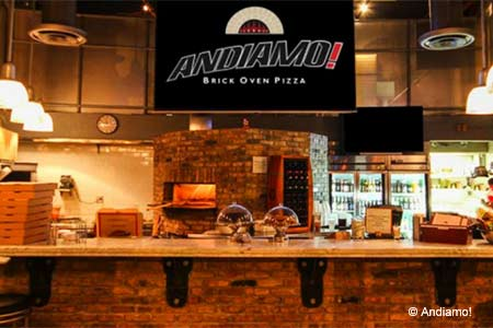Go to Andiamo for elevated brick-oven pizza with a unique indoor-outdoor setting in what resembles a glass-walled drive in.