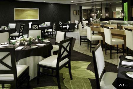 Upscale hotel restaurant offering Asian-influenced California cuisine in a contemporary environment.
