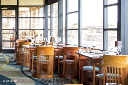 Nemacolin Woodlands Resort presents seafood and American cuisine at its Aqueous restaurant.