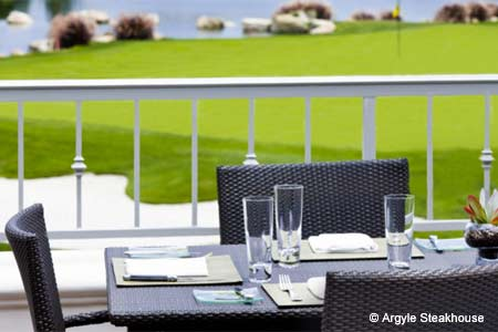 Enjoy views on the patio at Argyle Steakhouse in Carlsbad, one of GAYOT's Best Outdoor Dining Restaurants in San Diego's North County