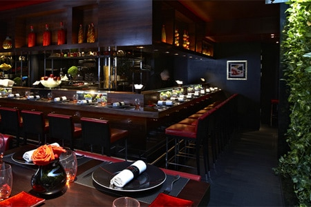 Dining room at L'Atelier de Joël Robuchon, London, UK