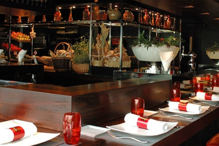 Dining room at L'Atelier de Joel Robuchon, Paris, france