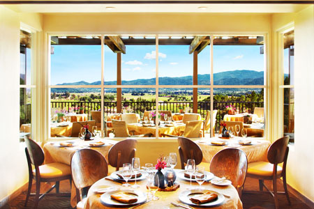 The romantic deck at Auberge du Soleil restaurant overlooks the Napa Valley