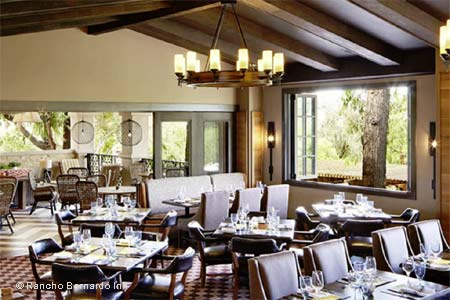 Seasonal cuisine in a California ranch-style ambience at Rancho Bernardo Inn.